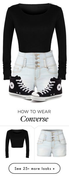 """Untitled #317"" by mrshollyambrose on Polyvore featuring LE3NO and Converse"