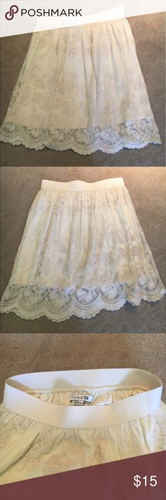 Lace Flowy Skirt Lace skirt with elastic waistband. Only worn a few times. Very comfortable and light for the summer Forever 21 Skirts A-Line or Full