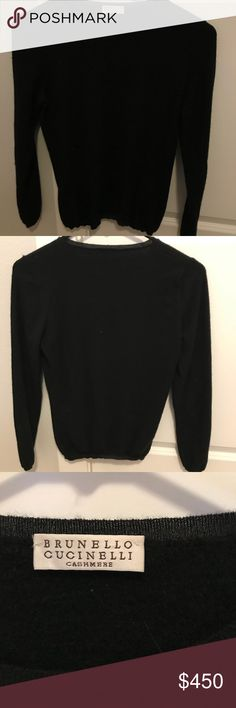 Brunello Cucinelli Black Cashmere Sweater Black Brunello Cucinelli Cashmere Sweater. Only worn twice! Very soft and warm - perfect for the holidays! I've noted a couple very small threads but no unraveling, stains, holes, or other flaws. Also not 100% on the size (I've included pictures of all the tags on the Sweater) but I would estimate it's a medium. Fits like a small. 95% Cashmere, 5% polyester. Made in Italy Brunello Cucinelli Sweaters Crew & Scoop Necks