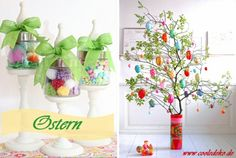 Osterdeko und Dekoartikel osterhasen blüten osterbaum