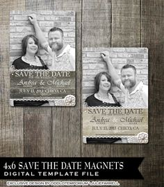 Rustic Lace Wedding Save the Date Magnet Digital Templates  Wood or Paper background with flowers and photo
