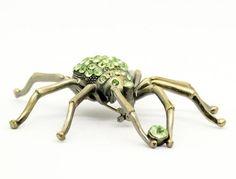 Vintage Spider Brooch   Rhinestone Spider Brooch  Green