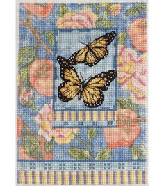 """Bucilla Monarchs Mini - 5"""" x 7"""", counted cross-stitch :: Pretty! And small enough to actually maybe be do-able some day. =)"""