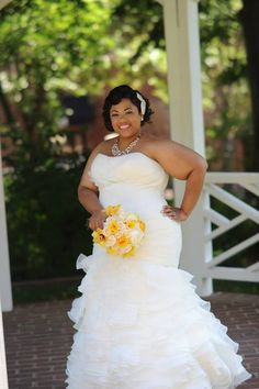 A Beautiful Bride -- That dress is perfect for her figure and I love her hair and summer flowers. Pleated Wedding Dresses, Plus Size Wedding Gowns, Country Wedding Dresses, Princess Wedding Dresses, Boho Wedding Dress, Dream Wedding Dresses, One Shoulder Wedding Dress, Wedding Attire, African American Brides
