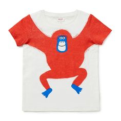 100% Cotton Tee. Slub, short sleeve t-shirt featuring novelty orangutan placement print. Regular fitting silhouette. Available in Vintage White.