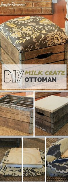 DIY Project - This unique creation stems from a modification of an erstwhile vintage milk crate using plywood to cover the top and an extra layer covered with upholstery