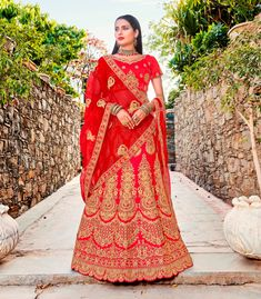9d8bef23e29 Buy Fashion Zonez Red Satin Silk Designer Lehenga Choli Online at Low prices  in India on