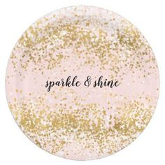 Blush Pink White Gold Confetti Sparkle Paper Plate - kitchen gifts diy ideas decor special unique individual customized