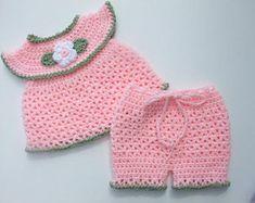 CROCHET PATTERN - CV141 AnnaLise Baby Girl Set - Top - Shorts - 3 Sizes 0-12 Months - PDF Download