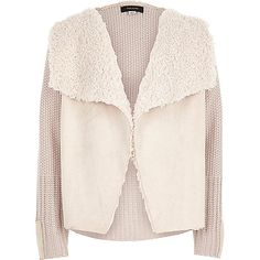 Girls cream knit fleece lined cardigan