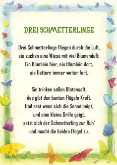 Schmetterling Gedicht Kindergarten Erzieherin Kita Kinder Erziehung Sommer Reim