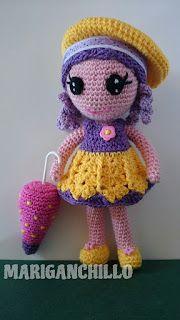 Creaciones Mariganchillo: PATRÓN PARA HACER A MAIKA (MUÑECA AMIGURUMI) Crochet Doll Clothes, Crochet Dolls, Crochet Baby, Free Crochet, Soft Dolls, Lalaloopsy, Beautiful Crochet, Softies, Diy And Crafts