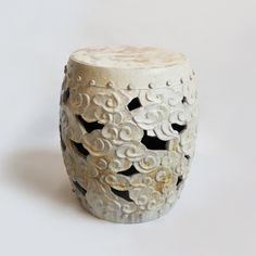 White barrel ceramic garden stool. 1 of these for downstairs patio Exterior.
