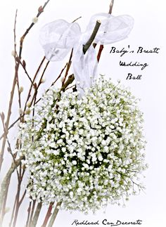 Baby's Breath Wedding Ball Full Tutorial I can also see this as a spring/summer arrangement in my cottage living room! Wedding Themes, Wedding Decorations, Wedding Ideas, Floral Decorations, Fall Wedding, Rustic Wedding, Wedding Ceremony, Topiary Centerpieces, Centrepieces