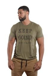 Men's KEEP GOING Positive Shirt Fitted Short-Sleeve Crew Neck - Military Green Tee (Free Shipping 2-5 Days)