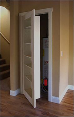 Great idea to hide a hall closet and use the space better! Love hidden passages!
