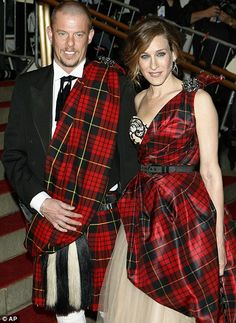 Touched with greatness: Alexander McQueen arrives for a party with Sarah Jessica Parker. Alexander McQueen changed our clothes and our minds - and, boy, could he wear a kilt.