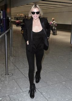Plenty to smile about: The 41-year-old supermodel looked content and happy following her f...