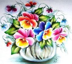 pintura em tecido vaso amor perfeito
