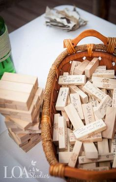 """Wedding Reception Do you LOVE Jenga? Then make the game pieces apart of the wedding """"guest book""""! - Looking for unconventional wedding ideas? Check out Wedpics articles on unique ideas for your special day. Browse now! Wedding Signs, Diy Wedding, Trendy Wedding, Wedding Book, Wedding Table, Wedding Favors, Wedding Unique, Wedding Advice, Fall Wedding"""
