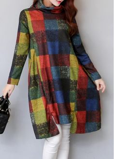 Long Sleeve Asymmetric Hem Plaid Print Shift Dress on sale only US$28.74 now, buy cheap Long Sleeve Asymmetric Hem Plaid Print Shift Dress at liligal.com