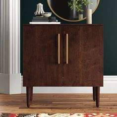 Langley Street Gardner 2 Door Accent Cabinet & Reviews | Wayfair Entry Furniture, Furniture Sale, Accent Chests And Cabinets, Tempered Glass Door, Wooden Tops, Neat And Tidy, Cabinet Colors, Mid Century Modern Design, Joss And Main