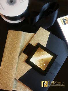 2758279eb Printed Black & Gold Glitter Wedding Invitation and RSVP card 6-piece  Pocketfold Set Bling