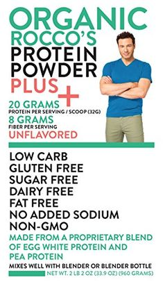 Rocco DiSpirito Organic Protein Powder, Unflavored, Pound *** Click image for more details. Organic Protein Powder, Best Protein Powder, Protein Mix, Protein Shakes, Egg White Protein, Rocco Dispirito, Muscle Milk, Blender Bottle, Sugar Free