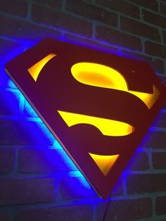 Dual Color Justice League Superman Comic Book Superhero Illuminated Neon Glowing LED Logo Wall Art for Mancave Logo Superman, Superman Comic Books, Superman Art, Man Cave Diy, Man Cave Home Bar, Wall Art Designs, Wall Design, Book Design, Design Art