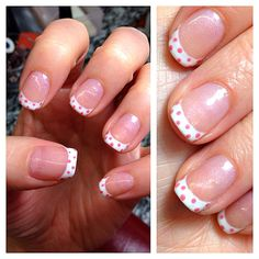 French manicure w/ pink polka dots = happiness. #nails #gelmanicure
