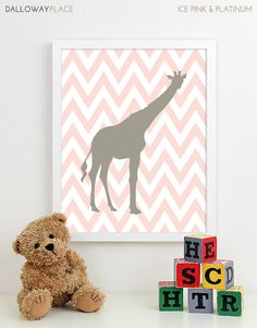 Nursery Art Print Chevron Giraffe Jungle Safari Animals Baby Boy Girl Gray Yellow Pottery Barn Harper Bedding Kids Wall Art - One 8x10. $17.00, via Etsy.