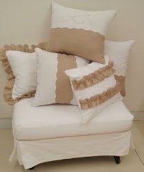 white denim and burlap -- but how about using white wedding dress and burlap for pillows!