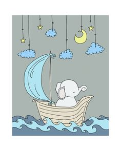 Elephant Moon and Stars Dream Nursery Art Print, Pink and Grey, Kids Wall Decor, Baby Girl Little Elephant, Baby Elephant, Art Wall Kids, Art For Kids, Baby Giveaways, Elephant Nursery Art, Baby Art, Cute Illustration, Cute Drawings