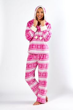 Katie Nordic Pyjamas Really sofy pyjamas. Sherpa lined hood and cuffs with pom poms. Also in Grey. Sherpa Lined, Pom Poms, Pyjamas, Nightwear, Cuffs, Size 10, Lingerie, Grey, How To Wear