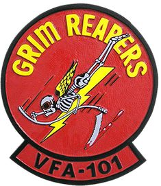 """Fighter Squadron 101 (VF-101), also known as the """"Grim Reapers"""", is a United States Navy Fleet Replacement Squadron (FRS) based at Eglin AFB, Florida. After the West Coast FRS for the F-14 Tomcat, VF-124, was disestablished in the mid-1990s, VF-101 became the sole F-14 FRS. With the retirement of the F-14, VF-101 was deactivated in 2005. It was reactivated in 2012 as Strike Fighter Squadron 101 (VFA-101), the sole single-site F-35C Lightning II."""