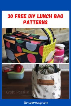 Thinking of getting a lunch bag? Here are 30 free designs pick one or two or many that work for you! #bagpatterns #freesewingpatterns #sewingpatterns #lunchbagpatterns Bag Patterns, Sewing Patterns Free, Insulated Lunch Bags, Snack Bags, Wrap Sandwiches, Pick One, Pattern Making, Free Design, Crafts