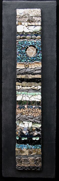 "Untitled I | Kath Jones 12"" x 40"" Pottery, Pearls, Mirror Tile, Kyanite Fans, Peacock Ore, Tibetan Quartz, Mexican Lace Agate, Dalmation Stone, Rough Agate, Apatite, Pebbles, Smalti, Blue Green Limpets, Black Pearl Shells"