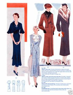 1935 Fall Eclair Coupe Paris Pattern Book Reprint 100 Styles w Patterns | eBay blue