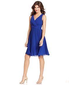 Evan Picone Dress, Sleeveless Empire-Waist Pleated - Bridesmaid Dresses - Women - Macy's