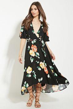 FOREVER 21 floral print wrap midi dress