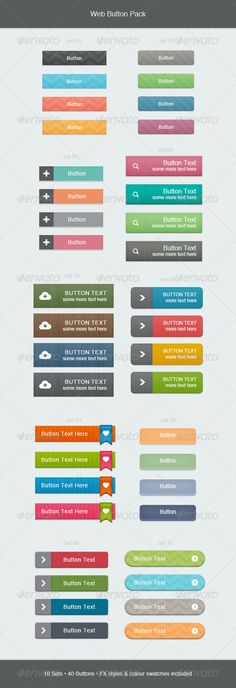 Web Button Pack  #GraphicRiver        Web Button Pack A set of 40 web buttons in a selection of styles and colours.  Individual .psd file for each button set  Individual transparent .png files for each button  Colour swatches (.aco) and fx styles (.asl) included  Vector shapes  Font used: arial      Created: 21August13 GraphicsFilesIncluded: PhotoshopPSD #TransparentPNG HighResolution: No Layered: Yes MinimumAdobeCSVersion: CS PixelDimensions: 590x1721 Tags: 3d #bright #button #clean…