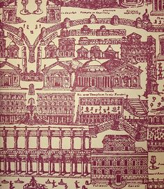 Rome Wallpaper Large architectural design, reliving the awe and magnificence of the Italian city of Rome in red on beige.