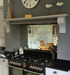 Mottled mirror splash back Mirror Backsplash Kitchen, Antique Mirror Splashback, Antique Mirror Glass, Kitchen Cupboards, Kitchen Tiles, Kitchen Colors, New Kitchen, Kitchen Design, Vintage Mirrors
