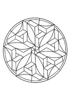 A colorier, un mandala composé de plusieurs cubes