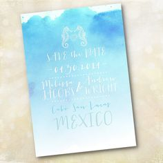 Wedding Invitation or Save the Date - Aqua Ombre Watercolor Seahorse - Design Fee