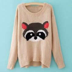 $14.68 Relaxed Bear Print Long Sleeved Plus Size Sweater For Women