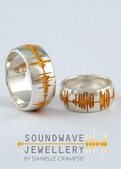 Wedding rings with voice waves
