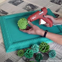 , Make a faux succulent vertical garden by painting pinecones to look like succulents. We'll share how to paint pinecones to look just like succulents! , Faux Succulent Vertical Garden Made From Pine Cones Pine Cone Art, Pine Cone Crafts, Pine Cones, Fall Crafts For Kids, Diy And Crafts, Felt Crafts, Paper Crafts, Kids Diy, Felt Flowers