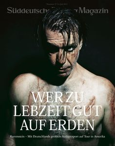 Till Lindemann Süddeutsche Zeitung Magazin cover with a chest piercing and some SERIOUS gashes. I'm not sure if they're real or makeup.