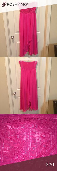 Hot Pink High-Low Strapless Dress Large Beautiful hot pink high-low strapless dress size large. This dress has several layers and flows nicely. New without tags. Bought from Kiki La Rue. West 36 Dresses Strapless